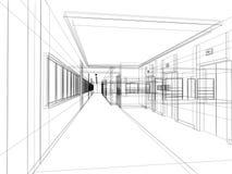 Sketch design of interior hall Royalty Free Stock Photo
