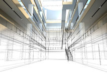 Sketch design of interior hall Stock Photos