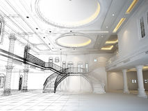 Sketch design of interior hall  ,3d render Royalty Free Stock Photography