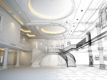 Sketch design of interior hall ,3d render. House under construction with a crane and other building fixtures on top of blue print,3d render Royalty Free Illustration