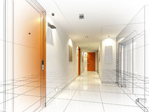 Sketch design of interior hall Royalty Free Stock Photography