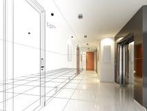 Sketch design of interior hall Stock Photo