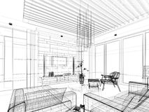 Sketch design of interior living Royalty Free Stock Photos