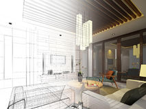 Sketch design of interior living Royalty Free Stock Images
