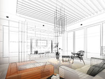 Sketch design of interior living Royalty Free Stock Photography
