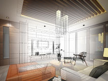 Sketch design of interior living Royalty Free Stock Image