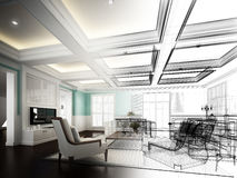 Sketch design of interior living Royalty Free Stock Photo