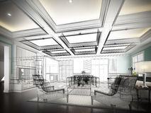 Sketch design of interior living Stock Image