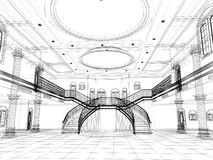 Sketch design of interior luxury hall Royalty Free Stock Photos