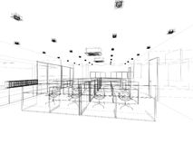Sketch design of interior office Royalty Free Stock Photo
