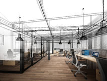 Sketch design of interior office Royalty Free Stock Images