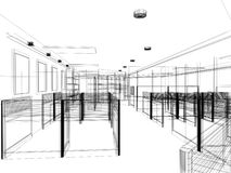 Sketch design of interior office, wire frame Royalty Free Stock Photo