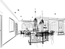 Sketch design of interior pantry Royalty Free Stock Photos