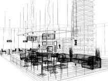 Sketch design of interior restaurant Royalty Free Stock Image