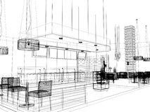 Sketch design of interior restaurant Stock Photography