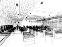 Sketch design of interior restaurant Stock Images