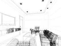 Sketch design of interior sitting room Royalty Free Stock Photos