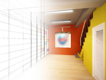 Sketch design of interior stair hall Royalty Free Stock Image