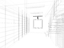 Sketch design of interior stair hall Stock Image
