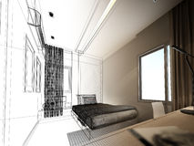 Sketch design  of interior walk-in closet Royalty Free Stock Photos