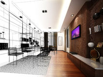 Sketch design of interior working room, wire frame Stock Photo