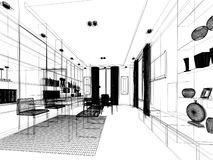 Sketch design of interior working room, wire frame Stock Photos
