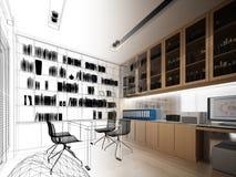 sketch design of study room  Stock Photos