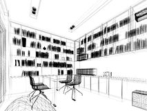 sketch design of study room Royalty Free Stock Photo