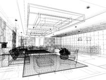 Sketch design of lobby ,3d wire frame Stock Image