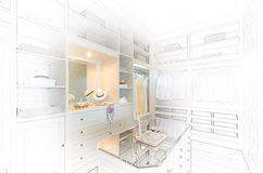 Sketch design of  luxury walk in closet. With white wardrobe Stock Image