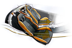 Sketch design of the modern conceptual interior of a sports coupe car. Illustration. Stock Photography