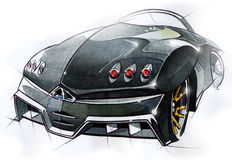 A sketch of the design of a modern futuristic sports car. Illustration. Royalty Free Stock Photo