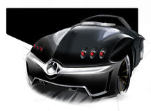 A sketch of the design of a modern futuristic sports car. Illustration. Royalty Free Stock Photos