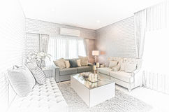 Sketch design of modern living room with modern chair and sofa a Stock Photo
