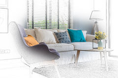 Sketch design of modern living room with modern chair and sofa Stock Photo