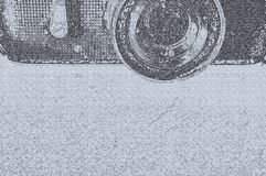 Sketch design of part of old camera. With lens and paper texture royalty free stock image