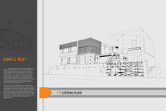 Sketch design of public building on drawing table. Royalty Free Stock Photo