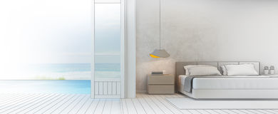 Sketch design of sea view bedroom with terrace in luxury beach house, Modern interior of pool villa. 3d rendering of bedroom and swimming pool Stock Image
