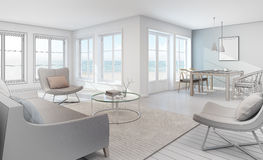 Sketch design of sea view interior in modern beach house Royalty Free Stock Photo