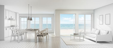 Sketch design of sea view interior in modern beach house. 3d rendering of room with sofa and dining table Stock Photos