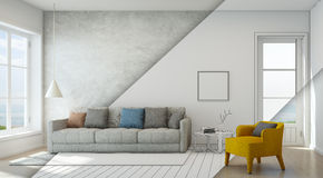 Sketch design of sea view living room in modern beach house, Luxury interior of vacation home Royalty Free Stock Photo
