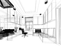 Sketch design of study room Royalty Free Stock Photography