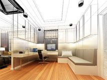 Sketch design of study room Royalty Free Stock Photos