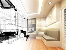 Sketch design of study room Stock Photo