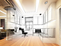 Sketch design of study room Stock Image