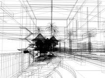 Sketch design of urban ,3d wire frame render Stock Photos