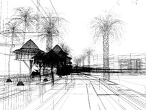 Sketch design of urban ,3d wire frame render Royalty Free Stock Photo