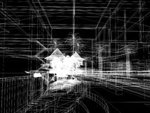 Sketch design of urban ,3d wire frame render Stock Photography