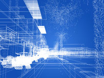 Sketch design of urban ,3d wire frame render Stock Image