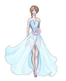 Sketch designer clothes, fashion designer. Pencil drawing, sketch designer clothes, fashion designer Stock Photos